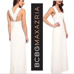 "BCBG MaxAzria ""Agata"" Dress Long White Sexy Back"
